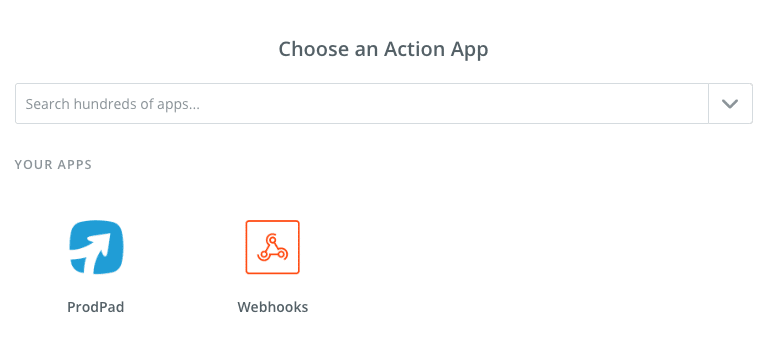 Select ProdPad as an Action App