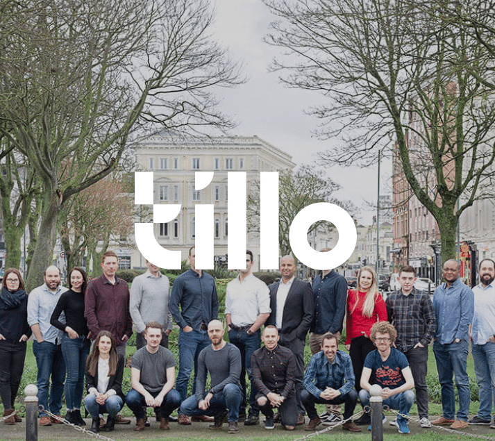 The tillo team gathered outside