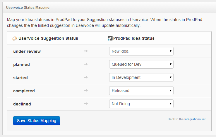 UserVoice Integration Status Mapping